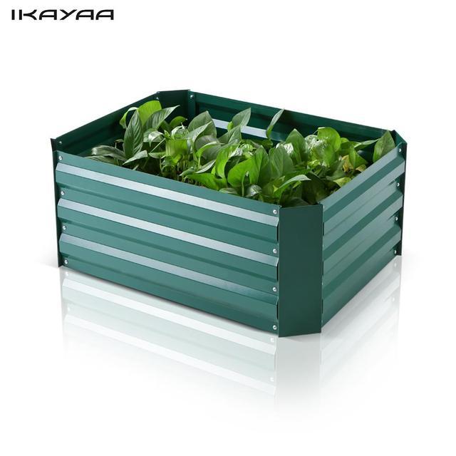 IKayaa Rectangle Metal Raised Flower Pot Garden Bed Vegetable Flower Herb  Planter Kit 75*56.5