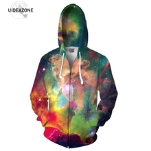 Neu Kommen 3D Galaxy Raum Zip-up Hoodie Multicolor Nebula Mit Kapuze Männer Frauen Mode Outwear Kleidung Voller Druck Lange hülse Tops