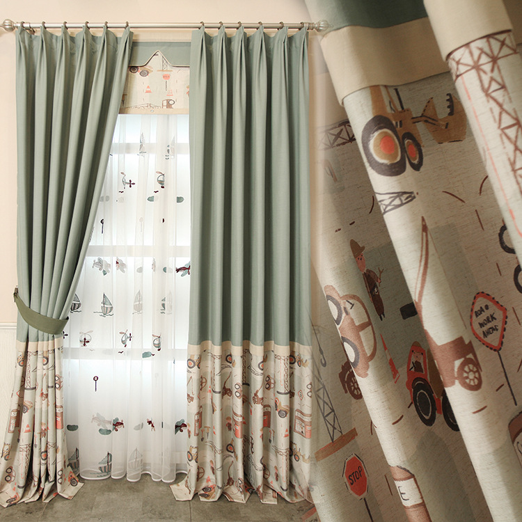 Small Fresh Curtains For Living Dining Room Bedroom Cute Boy Cartoon  Blackout Curtains Korean Garden Curtain Fabric In Curtains From Home U0026  Garden On ...