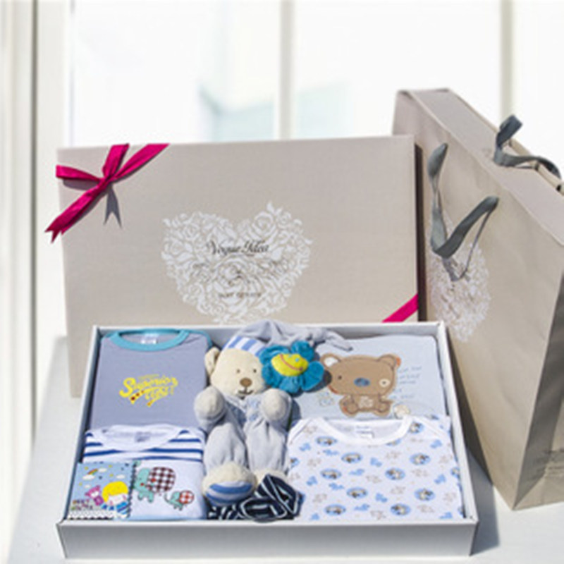 подарочная одежда для новорожденных - 100%Cotton baby clothes toys gift box newborn climb clothes Baby Full Moon Birthday Gift Set boys and grils