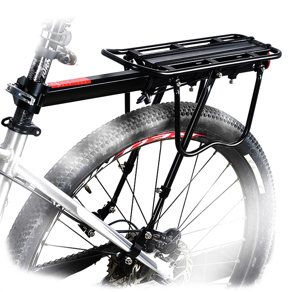 Bike Rack Bicycle Rear Shelf Quick Release Luggage  Carrier Pannier Bag Holder Seat Post Rear Rack Fender Load 25 Kg Black