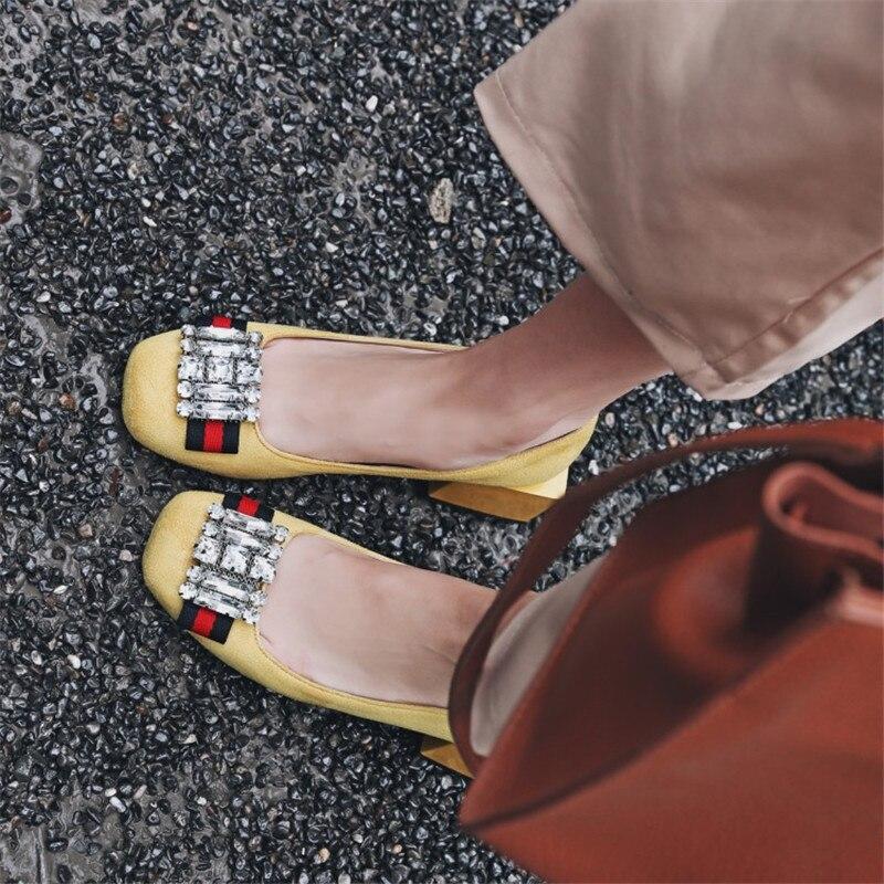 Üstəgəl ölçüsü 34-48 rinestone qadınlar kvadrat topuklu - Qadın ayaqqabıları - Fotoqrafiya 5