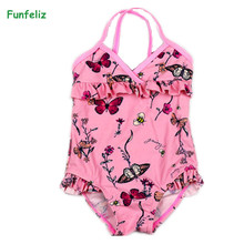 Funfeliz Girls swimsuit 2-8 Years Butterfly Floral Print One Piece Swimwear for Children Kids Bather Girl Pink Swimming Suits sabolay 2 8 years old baby buoyant swimwear floating girls quick drying one piece vest buoyancy swimsuit float kids swimming