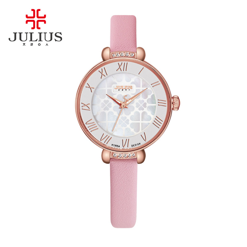 JULIUS New Young Girl Candy Color Watch Women Fashion Wrist Watches Leather Strap Slim Elegant Valentine Gift JA-869