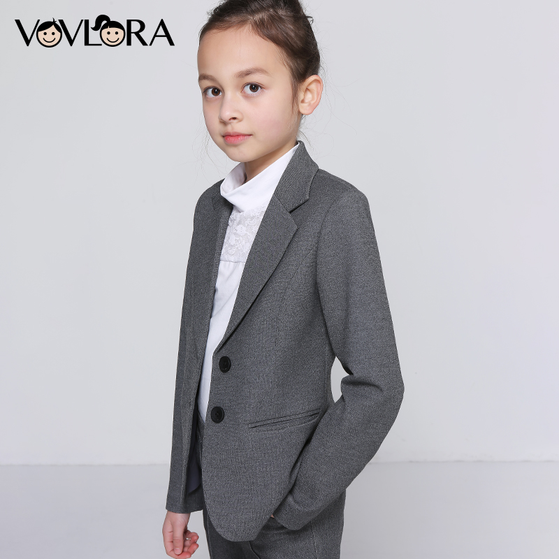Girls School Jacket V Neck Formal Single Button Kids Blazer Long Sleeve Solid Coats Summer 2018 Size 7 8 9 10 11 12 13 14 Years