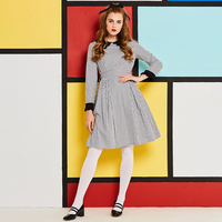 Sisjuly New Peter Pan Collar Vintage Dress Women Autumn A Line Cloth Elegant Gown Female Long