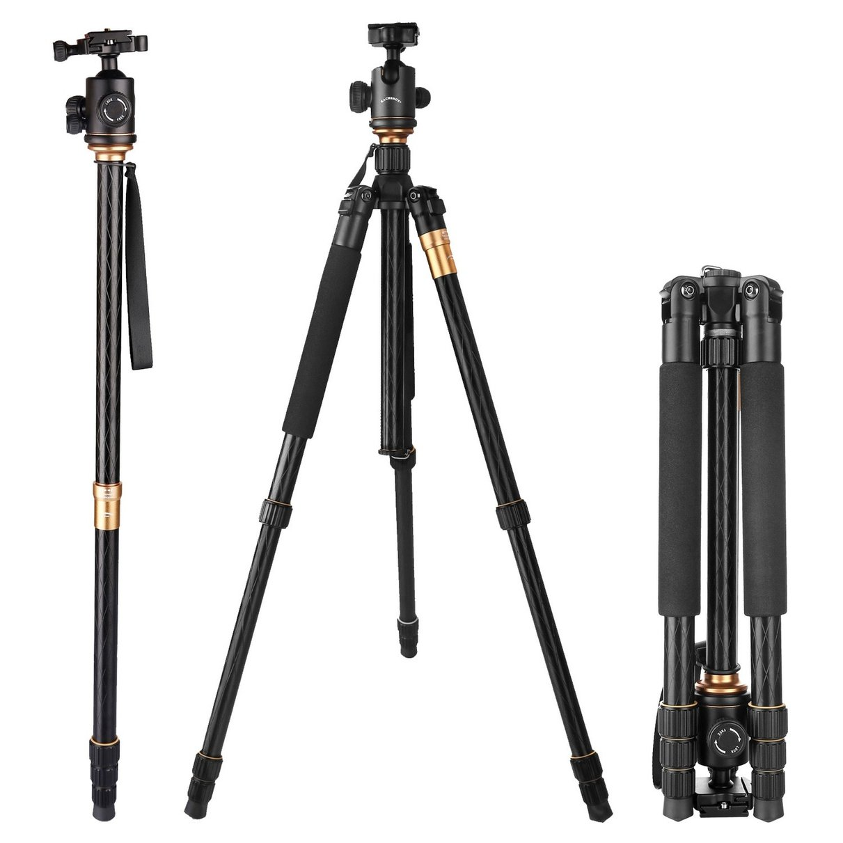 EACHSHOT Q999 Photographic Portable Tripod To Monopod+Ball Head For Digital SLR DSLR Camera Fold 43cm Max Loading 15Kg zomei z888 portable stable magnesium alloy digital camera tripod monopod ball head for digital slr dslr camera