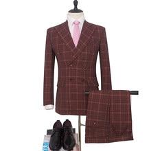 150ec04d3 Vino rojo Tweed hombres trajes Casual de los hombres de la raya Slim Fit  solapa negocio