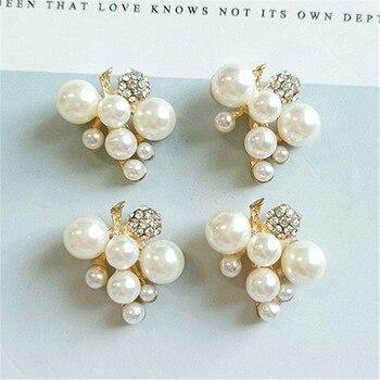 Colgante 50 Uds 21*22mm Color oro imitación perla cristal hoja rama encanto DIY para hecho a mano boda joyería fabricación al por mayor
