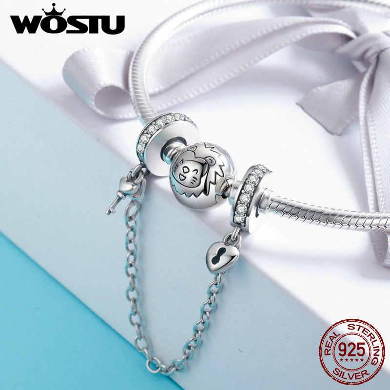 Hot Koop 100% 925 Sterling Zilver De Sleutel Tot Hart Silicon Veiligheid Chain Charm Fit Wostu Originele Kralen Armband Sieraden FIC606