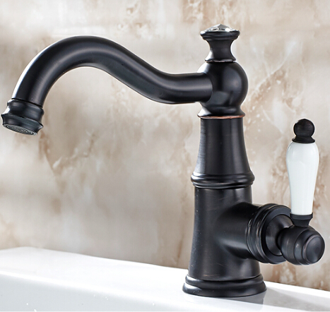 Free Shipping Solid Brass Bathroom Sink Basin Faucet Black Brass Ceramics Handle Retro Style Mixer Tap Deck Mounted Water Tap free shipping tall wall mounted black painted bathroom faucet double wheel handle black bronze basin sink mixer tap b 015