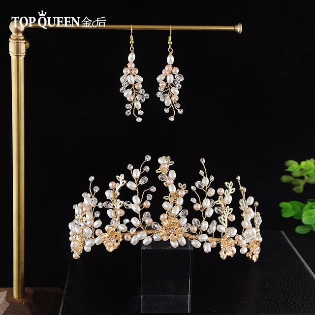 TOPQUEEN HP222 Boho Bridal Tiara Alloy flowers on Wedding Crown Bride Headband Handmade Wedding Hair Accessories for girls