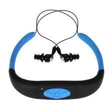 MLLSE 4 GB Memoria Deportes Impermeables MP3 Música PlayerFM RadioStereo de Audio para Auriculares Banda Para El Cuello Bajo El Agua Natación Buceo withHeadset