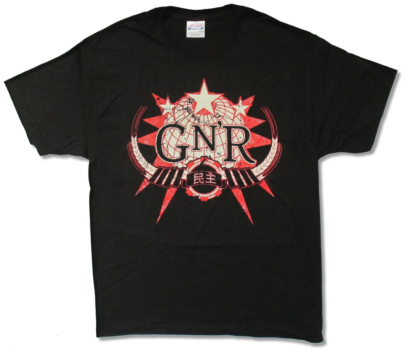 GUNS N ROSES GLOBE BLACK T-SHIRT NEW OFFICIAL ADULT GNR