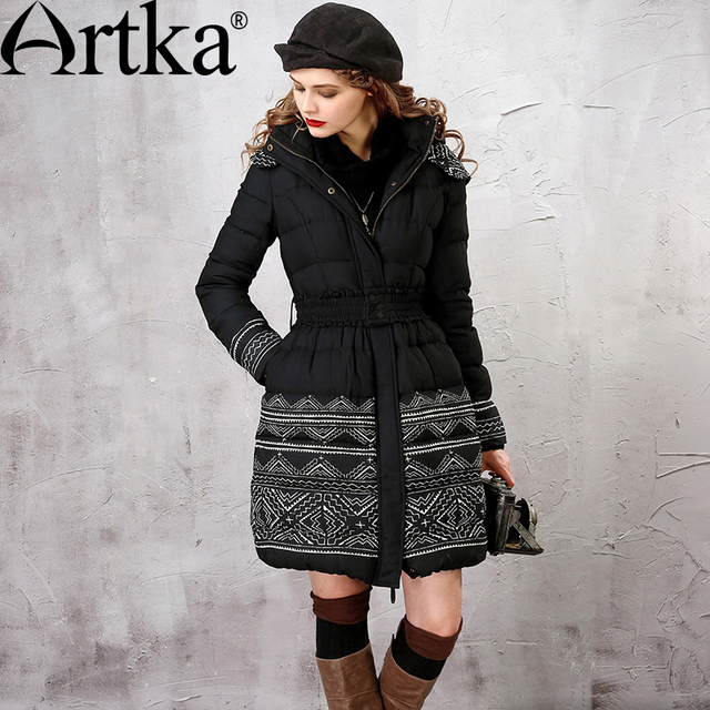 Artka Women Parka Winter Duck Down Jacket With Hood 2017 Vintage Outerwear With Belt Plus Size Women's Duck Coat Parka ZK16050D