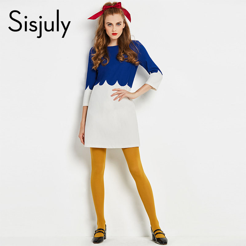 Sisjuly Women 60s Vintage Dresse Autumn Patchwork Three Quarter Sleeve Dress Multi Color Women Brand Dress