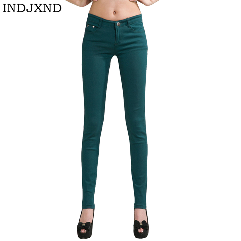 INDJXND Denim Pants 2019 Woman   Jeans   Solid Pencil Women Pants Girls Sweet Candy Color Slim Trousers Femme Pantalon Good Quality
