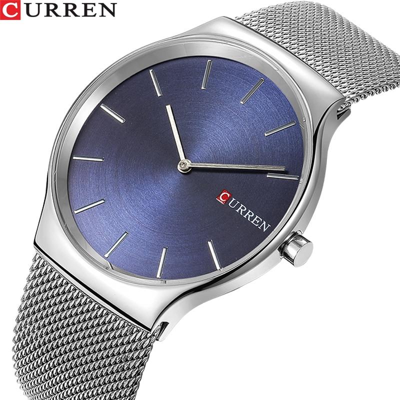 3d79e65d2e49 TOP lujo marca CURREN moda hombres de negocios relojes masculinos  ultrafinos reloj de cuarzo analógico deportes reloj impermeable del acero