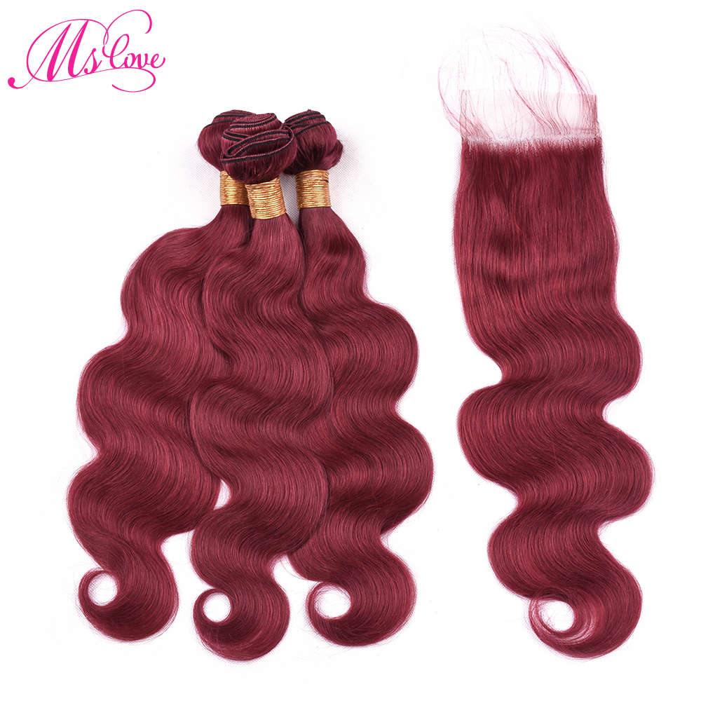 Ms Love Pre Colored Hair Burgundy Bundles With Closure Brazilian Body Wave Bundles With Closure Remy