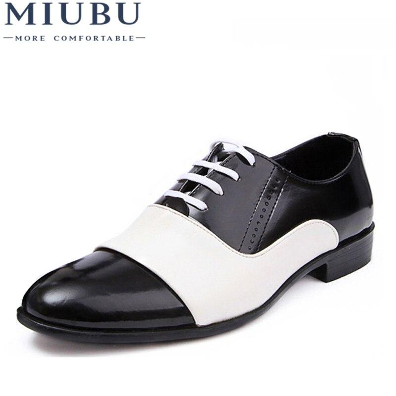 15e19deda MIUBU Moda Primavera Outono Homens Sapatos de Couro Homens Se Vestem Sapatos  de Festa de Casamento
