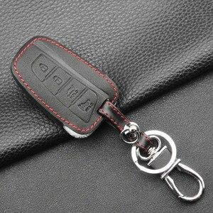 Image 3 - Jingyuqin 4 кнопки кожаный чехол для ключей автомобиля для 2013 2014 2015 HYUNDAI SANTA FE IX45 GENESIS EQUUS AZERA Автоаксессуары без ключа