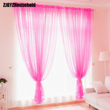 Solid Color Curtains for Window Yarn Sheer Tulle Curtains for The Living Room Screens Bedroom Curtains Finished Balcony Curtain(China)