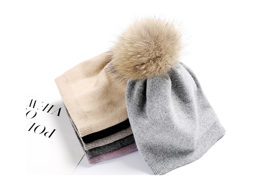 Autumn Winter Beanies Hat For Women Knitted Wool Skullies Casual Cap With Real Raccoon Fox Fur Pompom Solid Colors Ski Beanie (4)