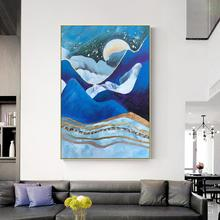 Modern abstract navy blue canvas oil paintings landscape wall art decoration painting decorative Pictures for living room
