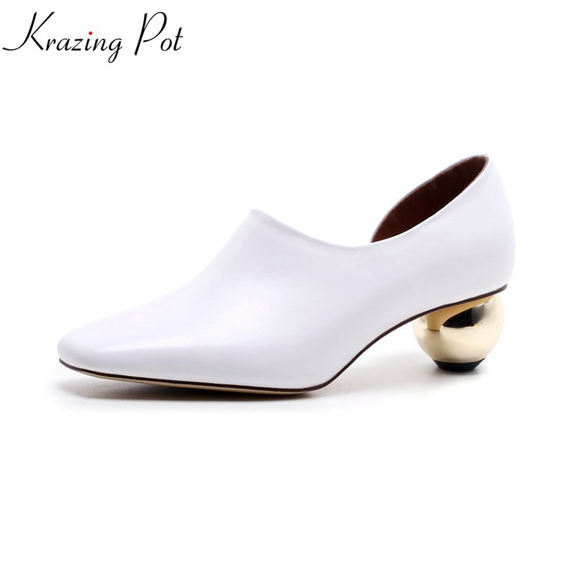 2018 Krazing Pot shoes novelty design med heels genuine leather pumps slip on shallow concise strange style work women pumps L65