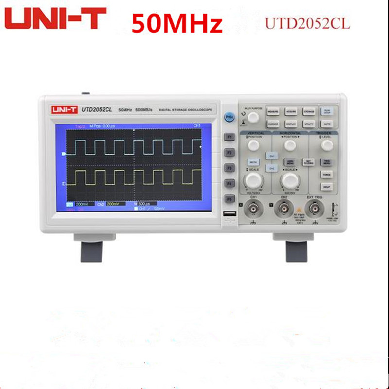 50MHz 500Ms/s Digital Storage Oscilloscopes DSO Dual Channels 7 inches LCD Scopemeter W/ USB Interface UNI-T UTD2052CL