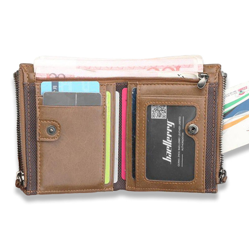 Baellerry Men Wallet Leather Short Wallets Male Large Capacity Three Zippers Purse Coin Pocket Bifold Card Holder Money Wallet pocket