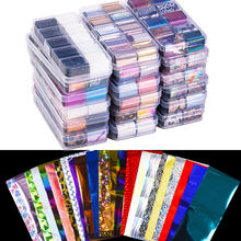 10 piezas holográfica juego de papel de uñas transparente AB Color uñas arte transferencia pegatina 2,5*100 cm manicura DIY consejos etiqueta engomada de la decoración