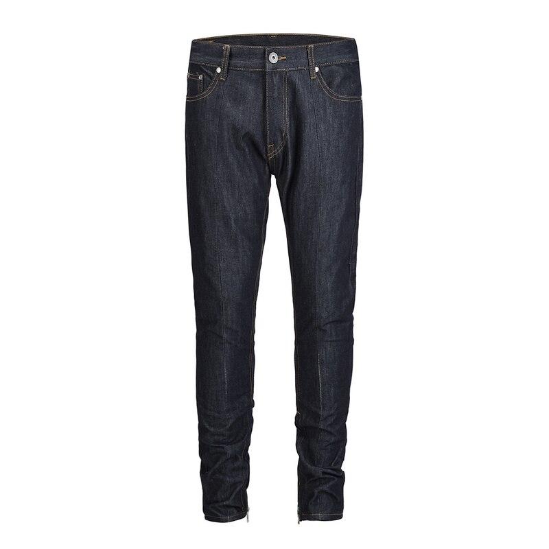2018 Black Icon Men Jeans Slim Fit Hi Street Design Fashion Ankle Zipper Jeans For Men Denim Trousers