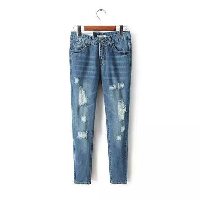 summer new European and American wild hole denim trousers female, relaxed thin casual street jeans female