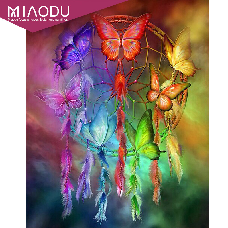 Miaodu Diamond Embroidery Painting Catcher Butterfly Full Square Decorate Gift Feather-Dream title=