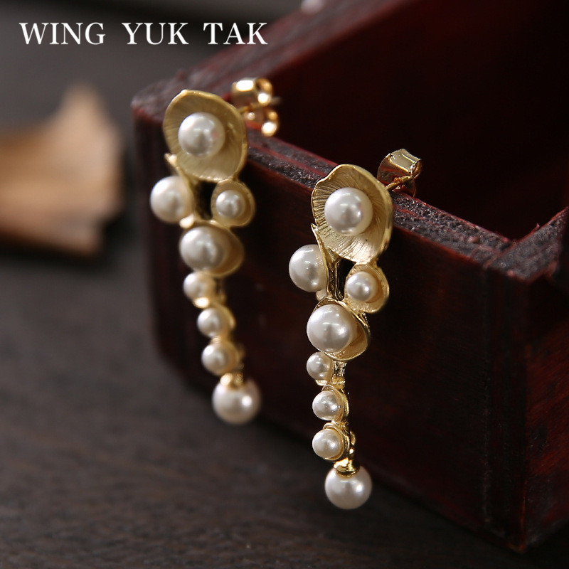 wing yuk tak Handmade Stud Earrings For Women High Quality Fashion Jewelry Gold Color Copper Flower inlay Cultured Pearl Earring 11 11 sale luxurious pearl clip earrings without piercing for women rose gold color high quality fashion bridal wedding jewelery