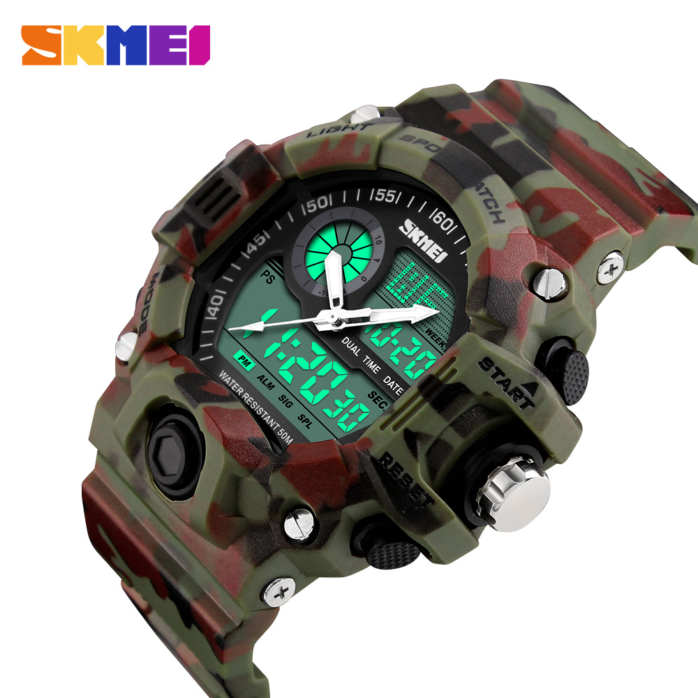 New 2018 Camo LED Digital Watch Men Dual Time Man Sports Watches Men S Shock Military Army Reloj Hombre Quartz Wristwatch ohsen men shock resistant sports watch quartz hour digital watch military 30m waterproof silicone strap led dual time wristwatch