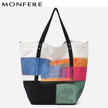 c3a34d073ce6 MONFERE модные женские туфли большая сумка с принтом холст ручной краски  спрей цвет праздник покупки пляжные