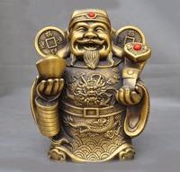 wedding decoration China bronze copper temple fengshui coin Yuanbao RUYI wealth God Jambhala statue