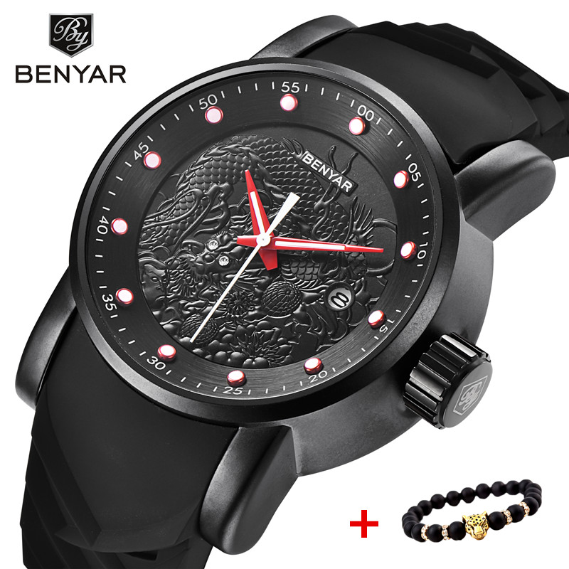 BENYAR Luxury Brand Dragon Sculpture Date Mens Quartz Watches 30M Waterproof Silicone Strap Fashion Male Watch Relogio Masculino|Quartz Watches| |  - title=