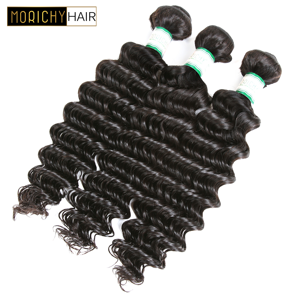 MORICHY Peruvian Deep Weave Bundles 3 PCS Natural Color 100% Human Hair Weaving Deep Weave Bundles Remy Hair Free Shipping