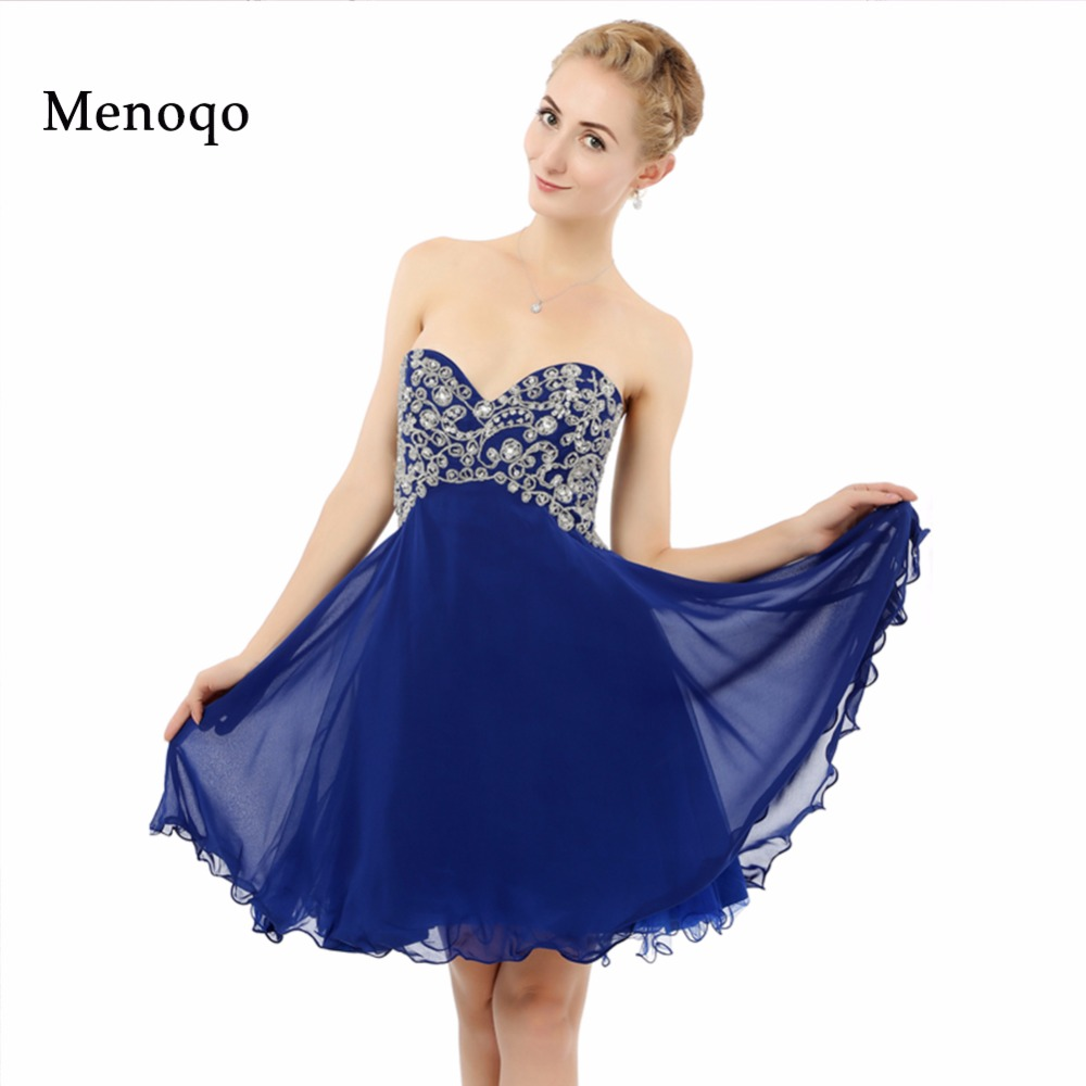 8th grade graduation dress Factory Real Photo A line Chiffon Beaded Knee length  Royal blue Party Homecoming dresses Short