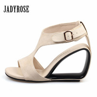 Jady Rose Apricot Women S Sandals Genuine Leather Footwear Summer Female Wedding Shoes Woman Gladiator High