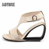Jady Rose Apricot Women S Sandals Genuine Leather Footwear Summer Female Wedding Shoes Woman Gladiator High