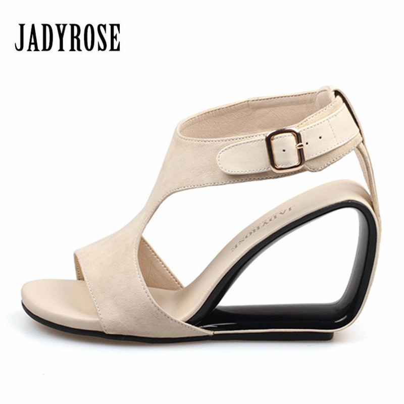 Jady Rose Apricot Women's Sandals Genuine Leather Footwear Summer Female Wedding Shoes Woman Gladiator High Heels 9CM Wedges phyanic 2017 gladiator sandals gold silver shoes woman summer platform wedges glitters creepers casual women shoes phy3323