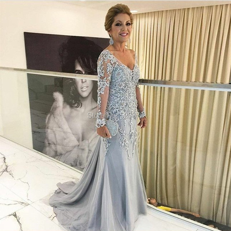 76da832885 YNQNFS MD45 Elegant Beaded Lace Appliqued Sheath V Neck Long Sleeves Mother  of the Bride/