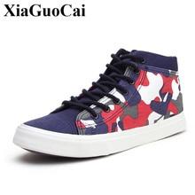 Baru Tinggi Atas Kanvas Sepatu Pria Renda Atas Sneakers Santai Sepatu  Fashion Kamuflase Nyaman Round-Toe Renda -Lebih Tinggi Dat. 7434132534