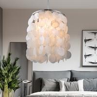 White Shell Chandelier for Living room Bedroom Kitchen seashell pendant lamp Art Decor hallway Stone chandelier lamp fixtures