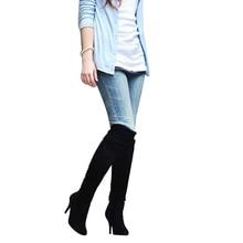 Plus taille 34 – 47 nouveau 2015 hiver cours genou haute femmes bottes mode talons minces Nubuck hiver en cuir bottes chaudes femmes chaussures BT53