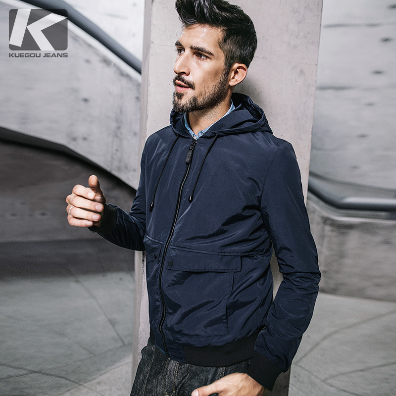 KUEGOU New Autumn Mens Hooded Jackets And Coats Patchwork Pockets Blue Color Brand Clothing Man's Slim Clothes Male Tops 3845